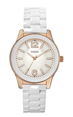 Een top horloge van Guess is deze W10601L1. De combinatie van rosé met wit is werkelijk prachtig.
