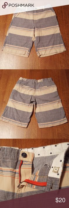 Tucker +Tate muted stripe shorts In excellent used condition,  Tucker +Tate 100%cotton twill shorts.  Adjustable waistband,  2 front pockets and 2 back pockets. Denim blue, tan and peach colors. Tucker + Tate Bottoms Shorts