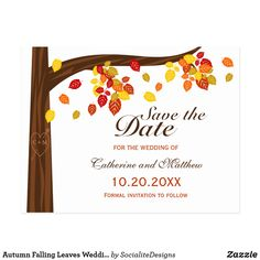 TOP TOP PIC  Autumn Falling Leaves Wedding Save The Date Postcard