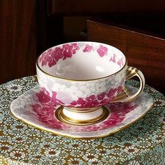 Wedgwood Deco Bloom Teacup and Saucer Set from the Harlequin Collection