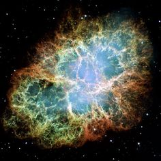 Crab Nebula - Here, we see Hubble's most detailed view so far of the entire Crab Nebula. The Crab is arguably the single most interesting object, as well as one of the most studied, in all of astronomy, NASA says. This image is the largest ever taken with Hubble's WFPC2 workhorse camera.