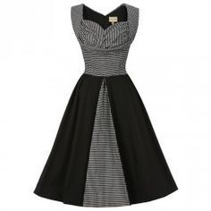 'Avis' Black Dogtooth Swing Dress