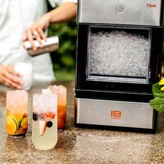 The nugget ice maker from Opal makes perfect ice nuggets for your drinks. No need to crush ice blocks into small pieces, the nugget ice maker Sonic Ice, Nugget Ice Maker, Ice Blocks, Making Machine, Cleaning Kit, Kitchen Gadgets, Countertops, Opal, Restaurant