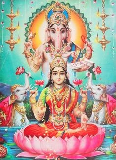 Lakshmi Ganesha Blessing Pose 1960s Large Print, Brijbasi (via ebay: allegory003)