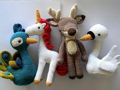 Peacock, Unicorn, Reindeer, Swan amigurumi