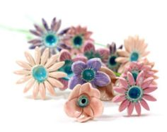 Spring decor Flowers decorations  Ceramic flowers Presents for mom Pastel flowers