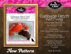 CROCHET PATTERN, Cabbage Patch Hat - Wig Crochet Pattern, Cabbage Patch Doll (Instant Download)