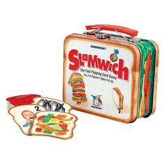 Slamwich Collector's Edition Tin and thousands more of the very best toys at Fat Brain Toys. The fast flipping card game. The game that started it all with all new cards in a special lunch box tin. Flip and stack this clever . Educational Toys For Kids, Kids Toys, Learning Toys, Lotto Games, Dinner Box, Toys R Us Canada, Shaped Cards, Snitch, Game Sales