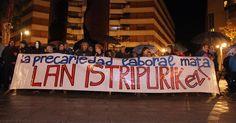 200 personas protestan por la muerte en accidente laboral de un vecino de Arteagabeitia