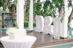 Giant illuminated lettering for the bride and groom