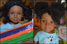 How to change Doll hair from straight to textured/kinky, YES!