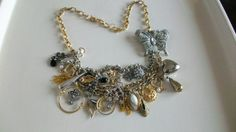 Upcycled Necklace with Vintage Charms in Silver and by JustforKate, $50.00