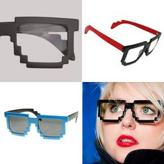 Pixel glasses -- great gift for the game geek, or the fashion-forward. Comes in flat or glossy black, as well as various color combinations. Sunglasses also available.