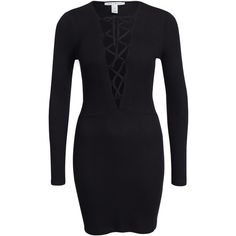 Nly Trend Lace Up Dress ($35) ❤ liked on Polyvore featuring dresses, black, party dress, womens-fashion, longsleeve dress, long sleeve cocktail dress, long sleeve dress, laced dress and tall dresses