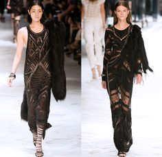 Roberto Cavalli 2014 Spring Summer Womens Runway Collection - Milan Fashion Week - Old Hollywood Glamour Multi-Panel Denim Jeans Snake Repti...