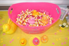 Baby shower game - Put numbers on the bottom of rubber ducks and put them in a pail of water, have each guest pick one then draw a number and the guest with that number wins a prize! Great for my duck themed party! Rubber Ducky Baby Shower, Baby Shower Duck, Baby Shower Games, Baby Shower Parties, Baby Boy Shower, Baby Showers, Baby Decor, Baby Shower Decorations, Toddler Boy Room Decor