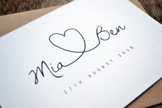 Save the Date - Personalised A6 Calligraphy Heart Wedding Save the Date including C6 Kraft Envelope