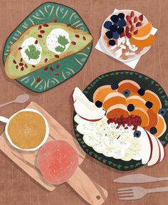 The beautiful and colorful food from Coffee College! Art And Illustration, Illustration Inspiration, Food Illustrations, Graphic Design Illustration, Coffee Illustration, Mein Café, Food Drawing, Aesthetic Art, Cute Drawings