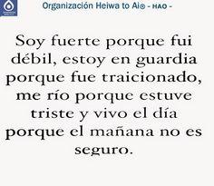Soy fuerte porque fui débil, estoy en guardia porque fui traicionado, me río porque estuve triste y vivo el día porque el mañana no es seguro. Cursos de REIKI HEIWA TO AI (3 niveles) y de otras terapias (Chi Kung, Mindfulness,...), así como tratamientos para la ansiedad, la depresión,... INFO: http://cursoshao.blogspot.com.es/ Organización Heiwa to Ai -HAO Por un mundo pacífico y feliz Luis - terapeuta de Reiki Heiwa to Ai (HAR) -