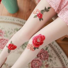 Vintage Paeonia Embroidery Tights SE9825    Use coupon code #cutekawaii for 10% off