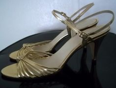 Vintage Shoes Gold Strappy Sandals Heels Made in by TheRetroCat, $18.00