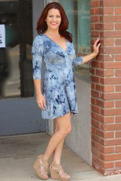 One Faith Boutique - Navy Blue Tie-Dye Wrap Dress, $35.00 (http://www.onefaithboutique.com/new-arrivals/navy-blue-tie-dye-wrap-dress/)