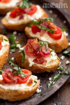 Creamy Feta and Bacon Bruschetta - An amazing appetizer and will be the hit of any party!