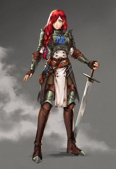 Art featuring medieval knights and their fantasy/sci-fi counterparts. Female Character Design, Character Design Inspiration, Character Art, Fantasy Fighter, Fantasy Armor, Female Fighter, D D Characters, Fantasy Characters, Female Knight