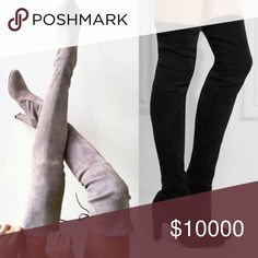 STUNNING OVER THE KNEE BOOTS!! They will be available in Gray and Black. Let me know if you are interested in a pair and what your size is. (Box not included) They sell out quick so limited quantity. Reserve yours now!      Thigh high boots, Over the knee boots.                          Size 39= 7.5, Size 39.5=8, Size 40=8.5, size 40.5=9 Shoes Over the Knee Boots