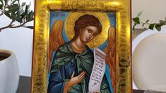 hand painted icon crafted in canvas on wood with the traditional method of the Byzantine hagiography with polished gold background. Paint Icon, Archangel Michael, Gold Background, Religious Icons, Art Store, Christianity, Carving, Hand Painted, Handmade