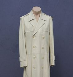 LEATHER TRENCH C0AT Winter White Super by RetroStampedRare