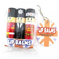 Set of three fruit flavoured  London Character Lip balm