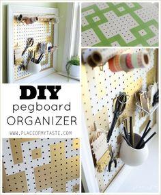 Pegboard organization ideas! Love this idea for getting organized!