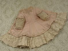 Marvelous Antique Rose Silk Satin Small French Bebe Dress from mybebes on Ruby Lane