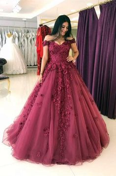 Cheap prom dresses lace appliques prom dresses ball gowns,tulle dress,off shoulder evening gowns Bridal Dresses Online, Cheap Prom Dresses, Long Dresses, Dresses Dresses, Homecoming Dresses, Dark Red Dresses, Grad Dresses, Burgundy Dress, Bridal Gowns