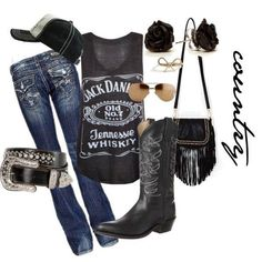 Cute! >>>Take away the cowgirl boots and make them combat boots or converse, nix the baseball cap and add a beanie, no belt and you've got my kinda outfit