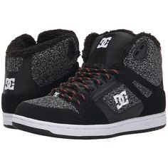 DC Rebound High WNT Women's Skate Shoes ($56) ❤ liked on Polyvore featuring shoes, grey, grey shoes, dc shoes high tops, leather hi tops, dc shoes and gray shoes