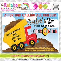 111 DIY Under Construction 2 Party Invitation by LilRbwKreations
