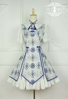 Miss Point -Blue and White Porcelain- Qi Stand Collar Lolita OP Dress Cute Dresses, Casual Dresses, Girls Dresses, Japanese Fashion, Asian Fashion, Mode Lolita, Estilo Lolita, Girl Outfits, Cute Outfits