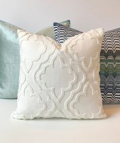 Light ivory white tile floral medallion embroidered geometric trellis decorative pillow cover, single sided, cover only : Light ivory white tile floral medallion embroidered geometric Diy Pillows, Throw Pillows, Deco Buffet, Pillow Forms, Punch Needle, Decorative Pillow Covers, Embroidery, Boho, Handmade