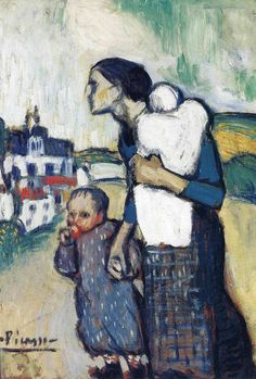 The mother leading two children, 1901, Pablo Picasso Size: 74.4x51.4 cm Medium: oil on cardboard
