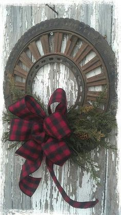 Old tire turned into a wreath.