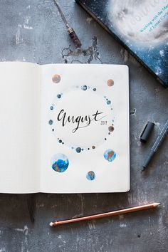 Lunar theme cover page for the month of August. #bulletjournal My cup of tea - #30 - tea & twigs