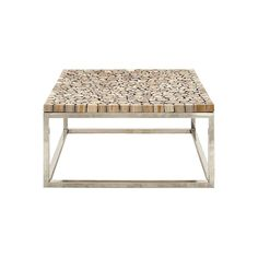 DecMode Decmode Natural 16 X 36 Inch Rectangular Aluminum Steel and Teak Wood Coffee Table, Brown Steel Coffee Table, Cool Coffee Tables, Contemporary Coffee Table, Modern Table, Modern Log Cabins, Teak Table, Cutting Tables, Dot And Bo, Teak Wood