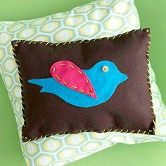 Birdy Pillow  This little pillow is the perfect accent pillow for a little girl's room.