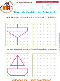 Ejercicio 02 nivel intermedio: Actividades escolares de trazos de simetría para desarrollar la memoria y la atención con los niños.