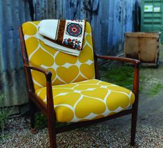 Oooo, Just love this chair as well. Refurbished chair, love the fabric!