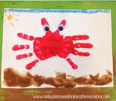 C is for Crab. Crab hand print art.