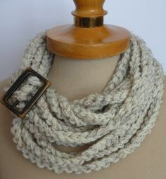 Infinity Scarf, Crochet Necklace,Oatmeal  color,scarflette,chain Oatmeal necklace ,gift under 20, Valentines gifts, on Etsy, $19.00