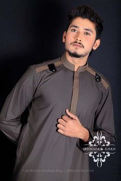 Menswear Kurta Shalwar Suits 2014 by Jahanzaib Khan Mens Designer Shirts, Designer Suits For Men, Designer Clothes For Men, Gents Kurta Design, Boys Kurta Design, Kurta Pajama Men, Kurta Men, Muslim Men Clothing, Mens Clothing Styles